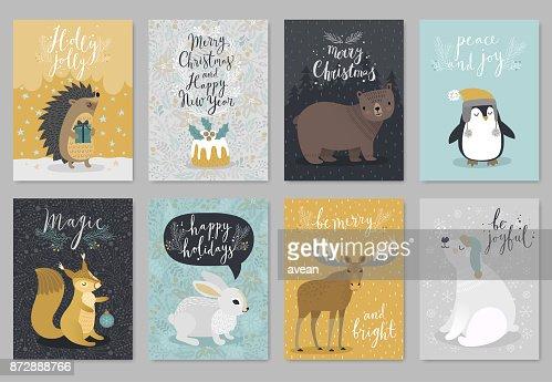Christmas animals card set, hand drawn style. : stock vector