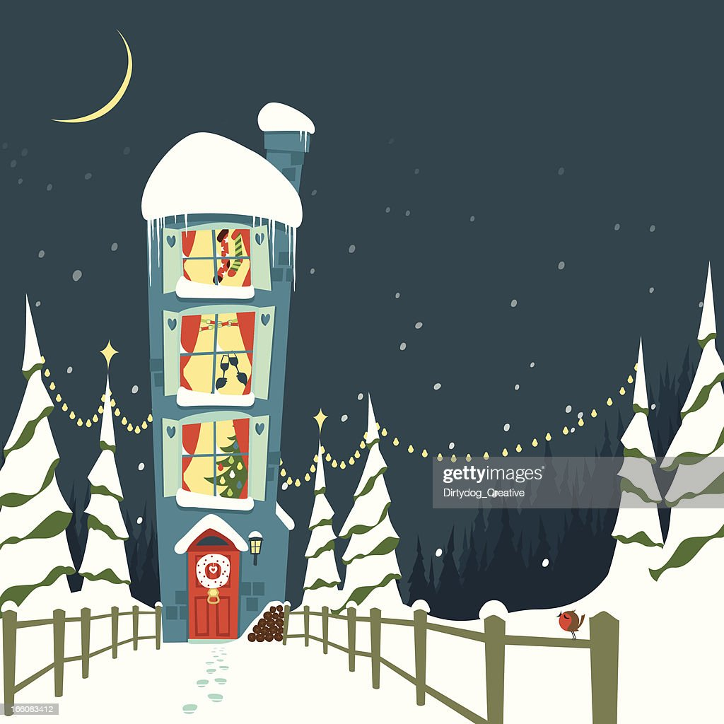 Christmas eve at home : Vector Art