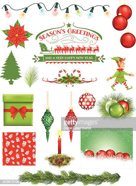 Christmas Background, decoration and Ornaments Set