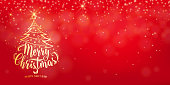 Christmas banner background. Happy new year holiday lettering text. Xmas lights, star, tree with garland string decoration. Red backdrop with shine fog, gold bokeh. Vector illustration