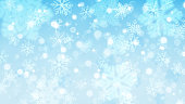 Christmas background with white blurred and clear snowflakes on light blue background. Big fuzzy and clear small snowflakes. Christmas vector illustration of beautiful snowflakes. Vector illustrations