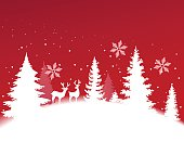 Christmas background with winter landscape