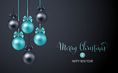 Vector elegant Christmas background with blue and black evening baubles