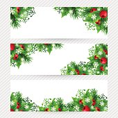 Christmas banners with fir branches, holly leaves, red holly berries and glowing snowflakes. Winter holiday backgrounds with decorations and greeting text. Horizontal vector illustration.