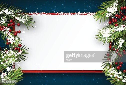 ファーの枝でクリスマスの背景に。 : ベクトルアート