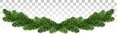 Christmas garland with fir branches. Set of green christmas tree branches borders isolated . Holiday background. Vector. Eps10.