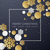 Christmas background with golden and white paper snowflakes on black. Template for postcard, booklet, leaflets, poster. Vector illustration EPS10