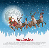 Christmas background with Santa driving his sleigh across the face of the moon on winter night and copy-space for your text