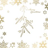 Christmas background with snowflakes and Merry Christmas text.