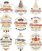 Merry Christmas and Happy New Year typography designs set isolated on white background. Vector badges, logo, emblems, text design. Easy for edit and use. Usable for banners, greeting cards, gifts etc.