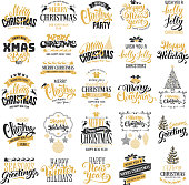 Merry Christmas and Happy New Year typography designs set. Calligraphy and lettering. Vector badges, logo, emblems, text design. Easy for edit and use. Usable for banners, greeting cards, gifts etc.