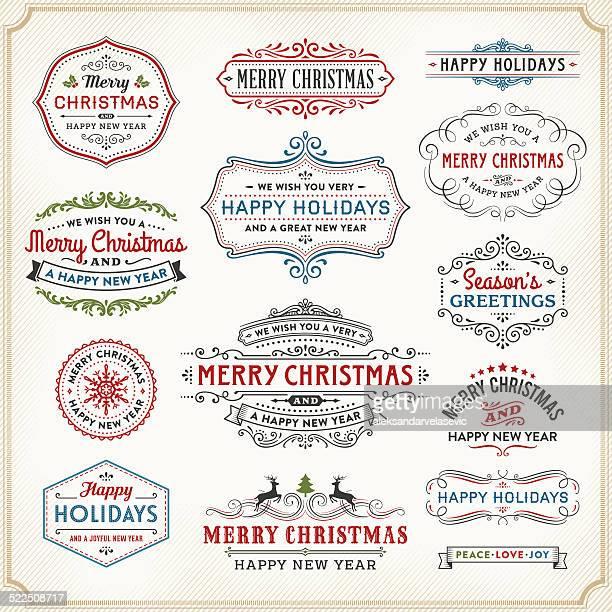 Tarjetas de Navidad etiquetas, marcos y