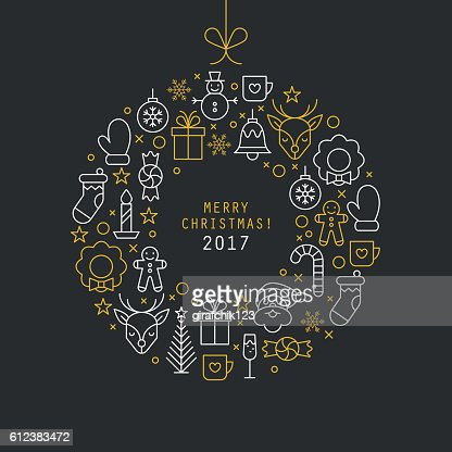 Christmas ball design with thin line icons. Vector illustration : Vector Art