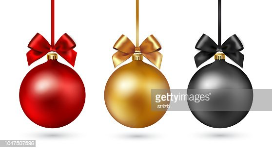 Christmas ball with ribbon and bow on white background. Vector illustration. : Vector Art