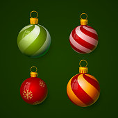 Christmas balls in the form of a ball, color set. vector illustration