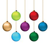 Set of festive Christmas decorations for the Christmas tree. Isolated objects, vector, illustration