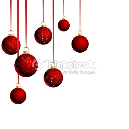 Christmas Balls With Ribbons On White Background Vector Art Thinkstock