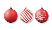 Christmas balls with stripes and snowflakes. New Year tree decoration. Vector illustration