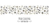 Christmas card template with a banner of hand drawn floral elements in black, white, gold