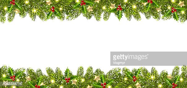 Christmas Banner with Christmas Tree Garland : stock vector