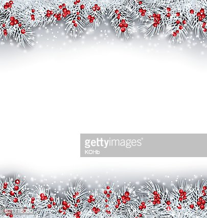 Christmas Banner with Silver Fir Twigs : ベクトルアート