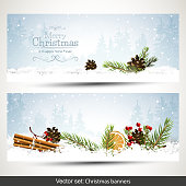 Vector set of two Christmas banners with branches and traditional decorations in winter landscape