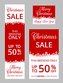 Set of vertical web banner for Christmas with snowflakes border