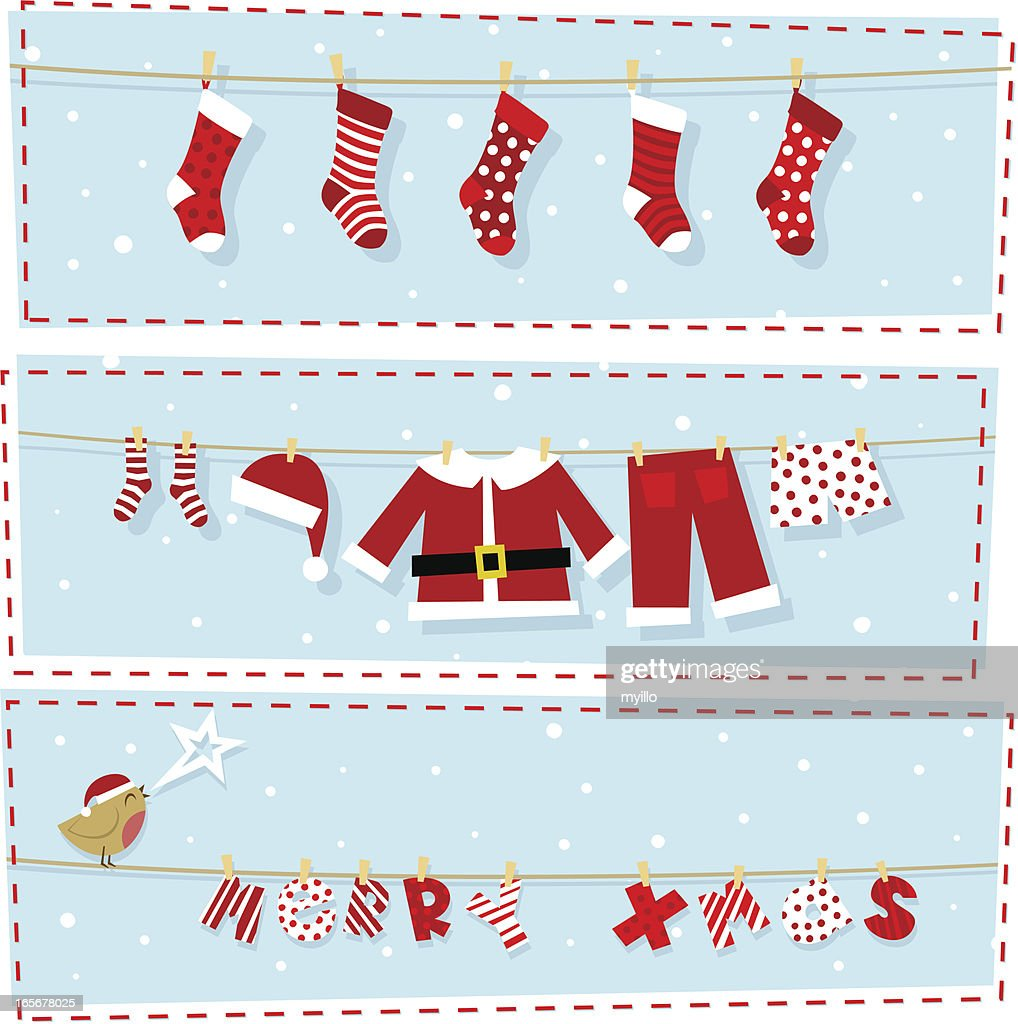 christmas banners xmas stocking santa claus costume vector art