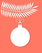 Christmas bauble on tree branch. Vector illustrtion