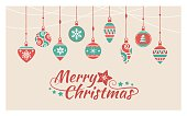 Colorful retro Christmas balls hanging on beads strings, vintage holiday banner
