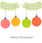 Christmas baubles on fir branch background. Vector illustration