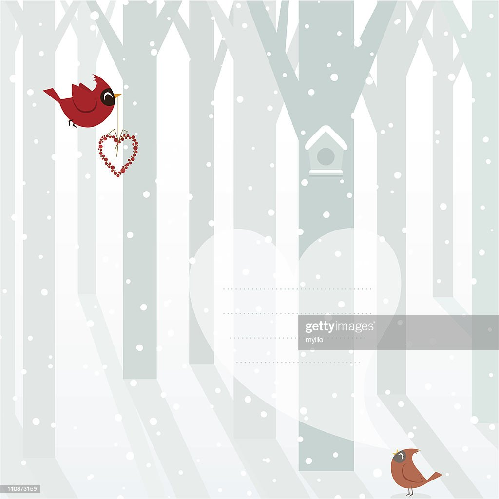 Christmas birds. Cardinals in love winter snowed landscape : Vector Art