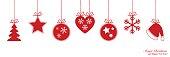 Christmas border with Xmas decoration