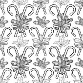 Traditional christmas candies with coniferous decorations. Vector holiday seamless pattern. Coloring book page design for adults and kids.