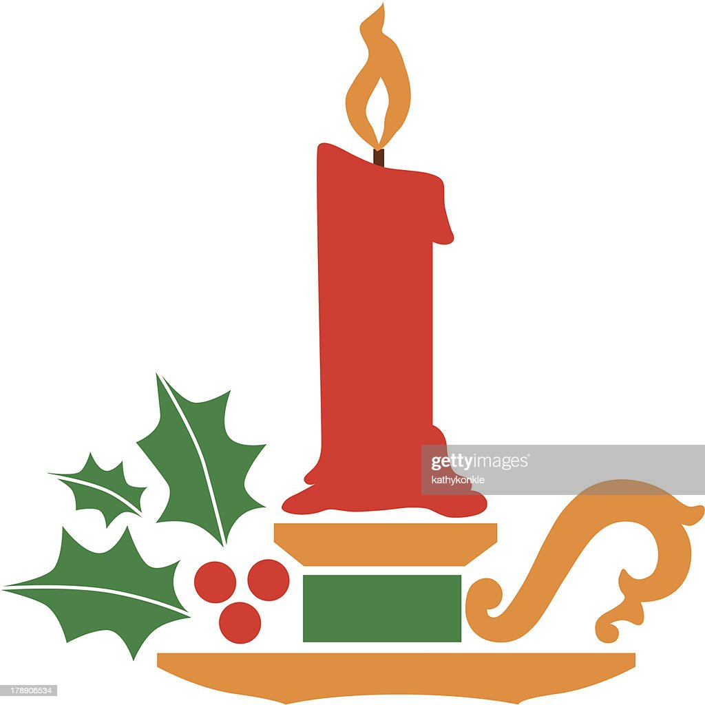 christmas candle holder vector art getty images