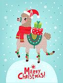 Happy New Year! Christmas card. Lama.