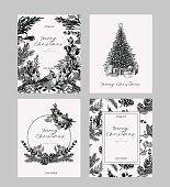 Christmas card set in vintage style. Hand drawn botanical collection of greeting template for winter holidays.