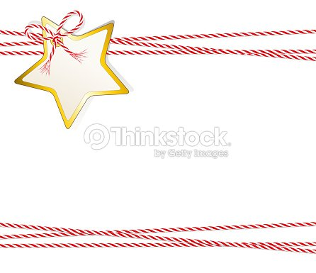 christmas card star gift label with golden edging and cord tape