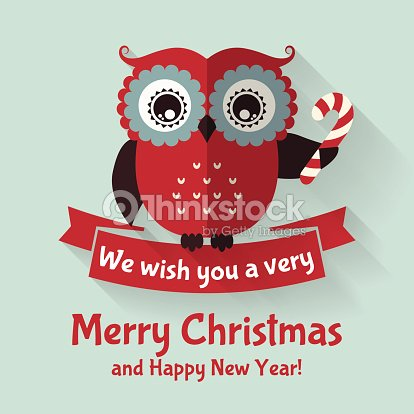christmas card with flat owl and ribbon vector illustration vector art