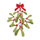 Christmas card with red bow on hanging mistletoe design