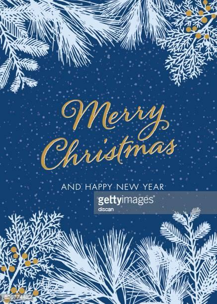 Weihnachtskarte mit weißen immergrünen Silhouetten - Illustration