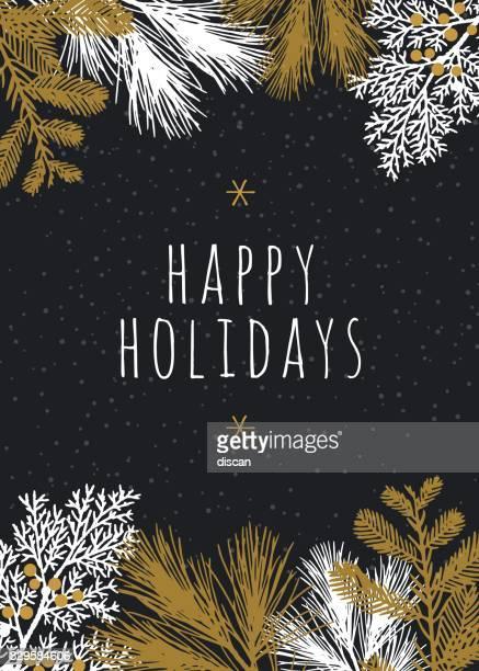 Weihnachtskarte mit weißen immergrünen Silhouetten