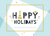 Happy Holidays and Merry Christmas background. Greeting card with bold typographic design, golden glitter frame and elements. Horizontal template. Contemporary geometric background. Vector illustratio