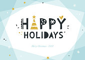 Bright Happy Holidays background. Corporate greeting card with bold typographic design, golden glitter Christmas tree and stars. Horizontal template. Contemporary geometric background. Vector illustra