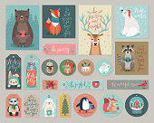 Christmas cards and gift tags set, hand drawn style. Vector illustration.