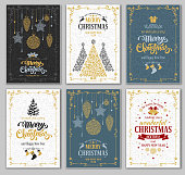 Merry Christmas and Happy New Year greeting cards designs set. Vector graphic in unusual style. Easy for edit and use.