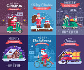Merry Christmas and Happy New Year greeting cards set with different europe winter holidays backgrounds. Snow house, Santa Claus delivery Xmas gift box and snow scooter delivering presents concepts.