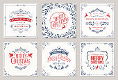 Ornate square winter holidays greeting cards with typographic design, reindeers, Christmas Doves, floral and swirl frames. Vector illustration.