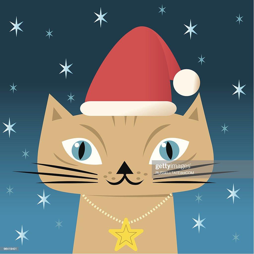 Christmas Cat : Vector Art