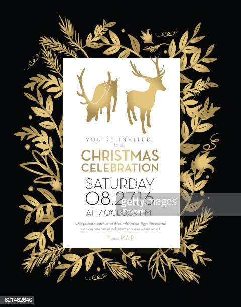 Christmas celebration invitation template golden hand drawn elements